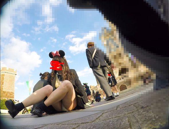 【顔出しJK8】夢の国② インスタ特定。城前で無邪気に写真撮ってるところの白P【声かけ】2-1 - コピー