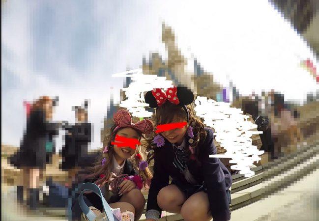 【顔出しJK10】夢の国③ インスタ映え命、茶髪JKのサテンピンクP。逆さに座り、声かけ…やりたい放題。【声かけ】2 - コピー