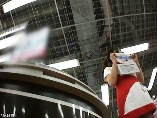 69 携帯ショップ店員キャンギャル 赤白コス 白パンツ3