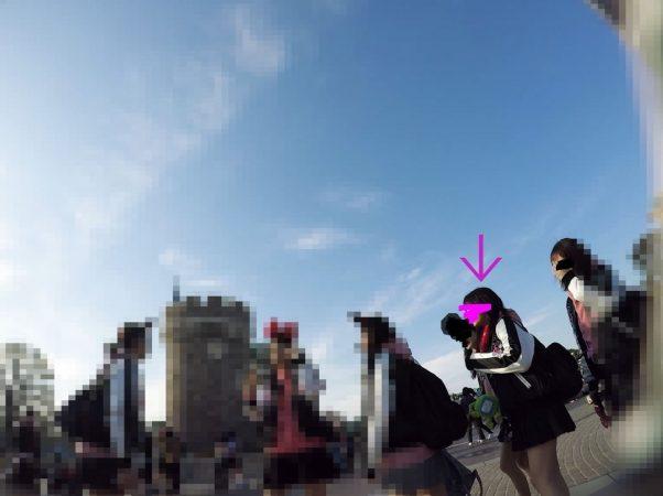 PcolleGレビューcolleみみっく【顔出しJK35】[夢の国16]集団で歩くお揃コーデJKちゃん。風にはためくスカートの中の生P。【声かけ】1