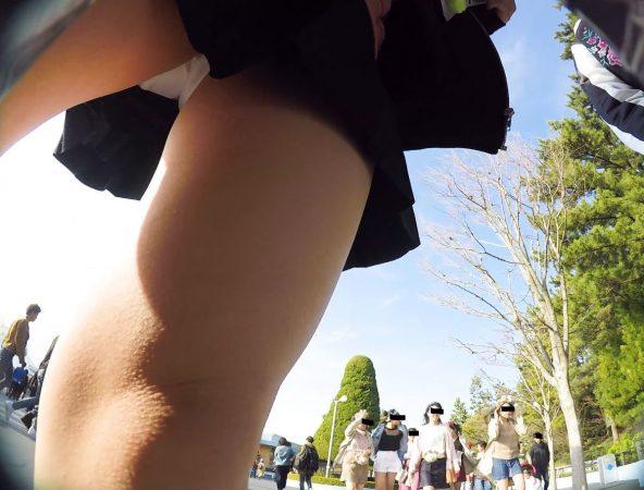 PcolleGレビューcolleみみっく【顔出しJK35】[夢の国16]集団で歩くお揃コーデJKちゃん。風にはためくスカートの中の生P。【声かけ】10