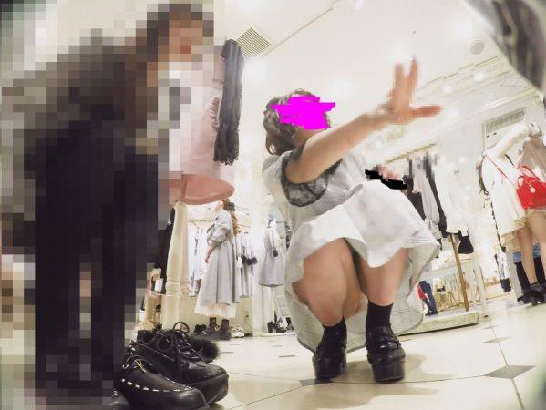 PcolleレビューGcolleパンチラみみっく【ショップ店員8】感じの良いガーリー系店員さんのピンクP。【声かけ】16