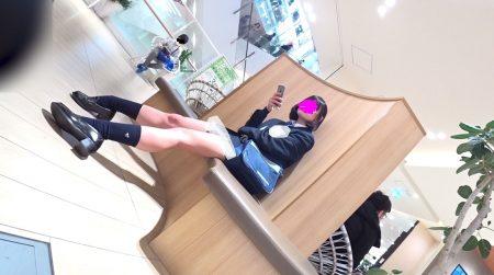 PcolleレビューGcolleパンチラのどぬる~青チェック柄のJKスカートめくり1 #制服 #生パン #顔出し-4